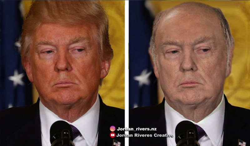 Same picture as above. A modified picture of President Trump, edited to show him without spray tan or combover hair.