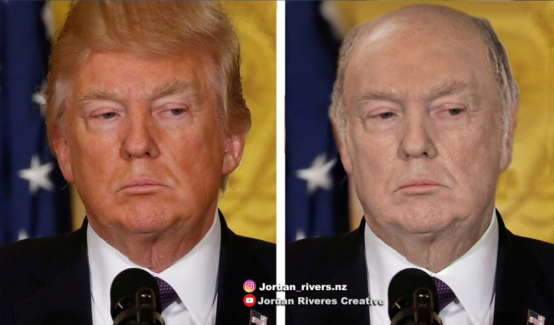 A photoshopped version of Trump with less tan skin