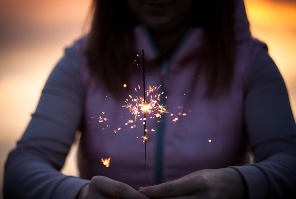 Woman with firework