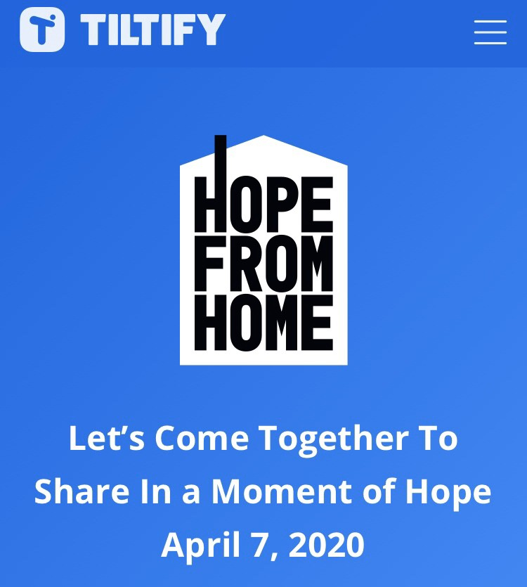Hope From Home Logo, a charity fundraiser on April 7th 2020